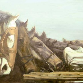 Mongolian cavalry Died on the battlefield by Ren Libao from Mural Painting Department 290x290 - Selected Works at the Graduation Exhibition of the Mural Painting Department, CAFA 2011
