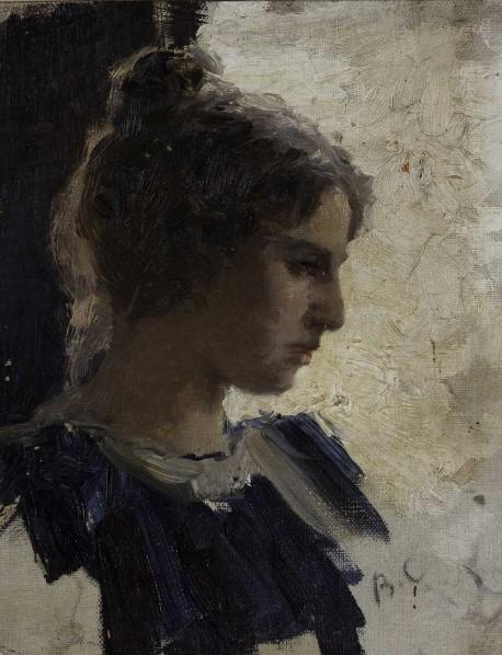 Portrait of A Young Lady by Valentin Serov, 458x598