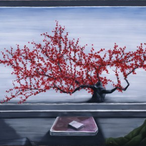 Zhang Xiaogang, Train Window -Red Plum, 2010; Oil on canvas, 220x140cm