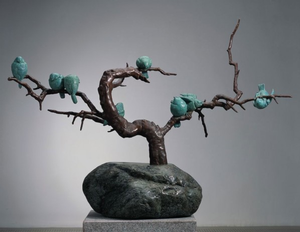 Group of Sparrows in Winter; 88×115×65cm; casting copper, 2010