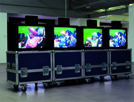 Royal Ascot by Mark Wallinger/ Video installation on four monitors with flight cases© The Artist