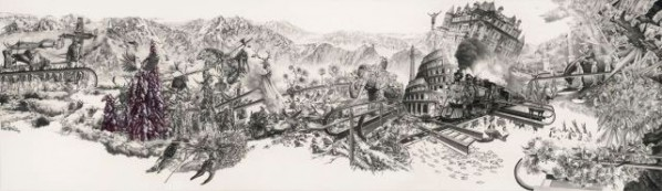 Competing Soil by Zhao Na, 2011; painting, pencil, colored pencil, paper, 700X2400mm