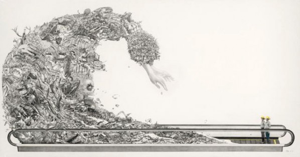 In God's Hands by Zhao Na, 2011; painting, pencil, colored pencil, paper, 1000X1900mm