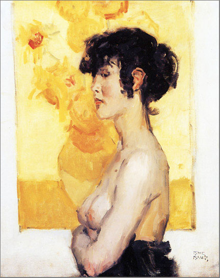 Isaac Israëls, Woman before Sunflowers by Vincent van Gogh, 1917