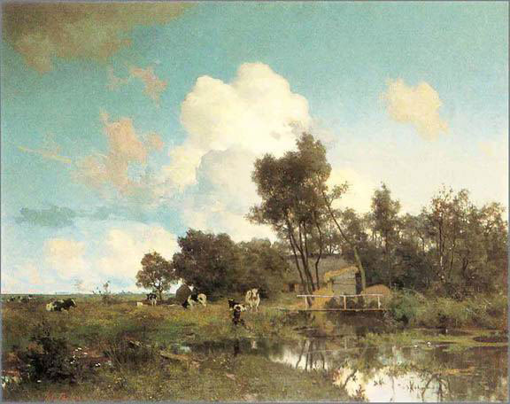 Willem Bastiaan Tholen  Country Landscape in Summer  75 x 99.8 cm