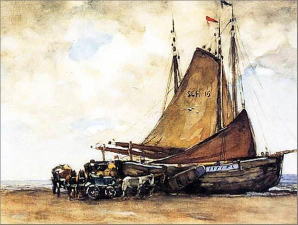 Willem de Zwart  Bomschuit on Scheveninger Beach, 33 x 44 cm