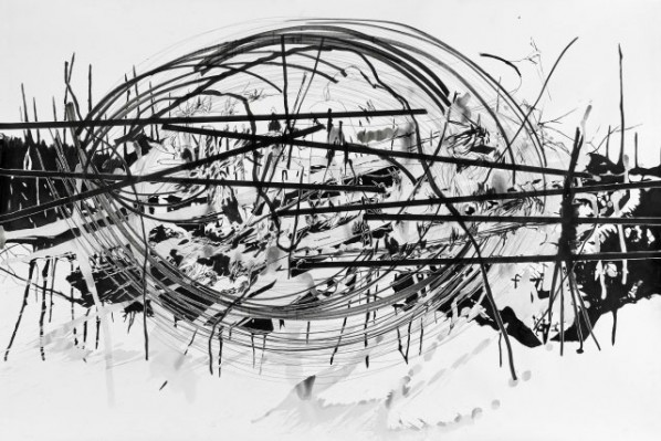 comsmic rift 48 by Yehudit Sasportas,, 2011; Ink on paper, 100X150cm-39.37X59.06 in
