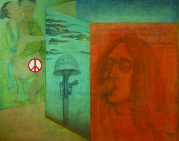 Give Peace a Chance, a painting in Zen & Revolution--Shui-bo Wang Solo Exhibition