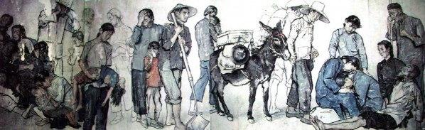 Jiang Zhaohe' s Homeless People(detail), 1943