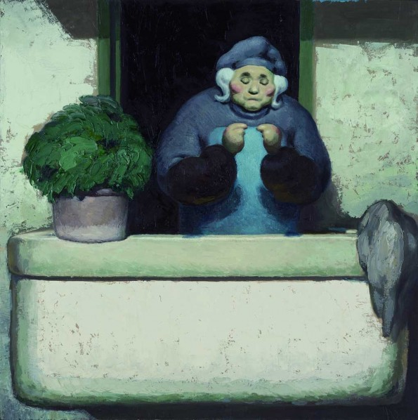 Wang Xingwei-Untitled (small old lady on the balcony), 2011