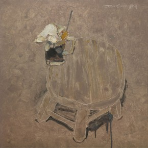 6. A Cup of Iced Tea on the Edge of Stool by Shi Zidong, 2008; oil painting on canvas, 80X80cm