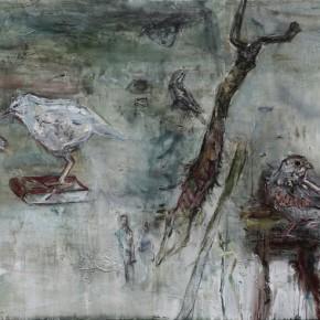 Birds in the Streamy Mountain by Tu Hongtao, 2011;Oil on Canvas, 120×250cm