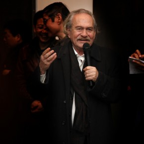Mr.Jannis Kounellis spoke at the opening ceremony of his Translating China; Photo: Hu Zhiheng/ CAFA ART INFO