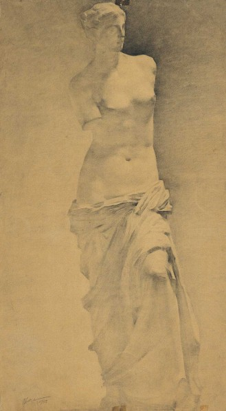 Plaster Model of Venus by Zhu Naizheng, 1955; drawing, 73.5cm×40cm