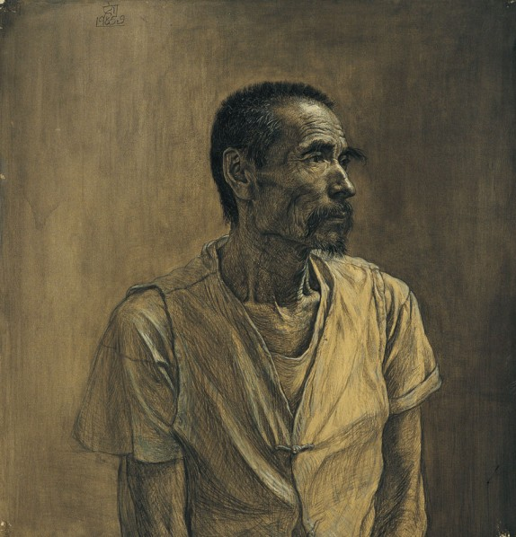 Portrait of An Old Man by Liu Xiaodong, 1985; drawing, 73cm×69cm