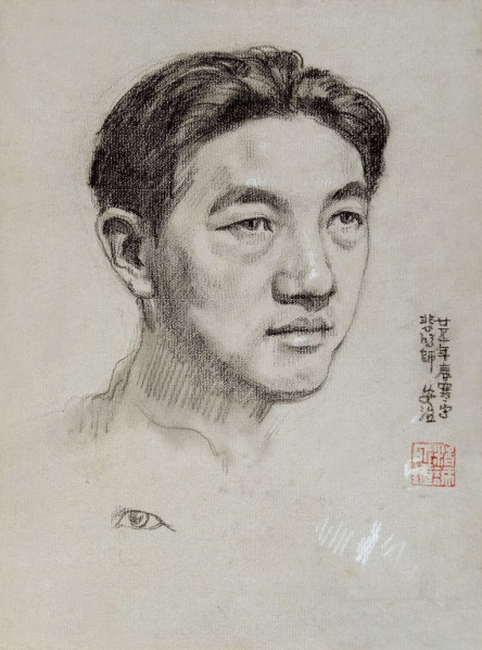 Portrait of Xu Beihong by Zhang Anzhi, 1936; drawing, 100cm×74cm