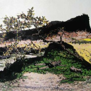 01.He Kun-Cloudless Sky - The Language of the Mountain No.3, Woodblock , 60 x 90 cm, 2011