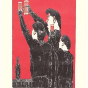 08.Su Xinping-Comrade and Toast Series No. 2, STPI Handmade White Paper, 127 x 102 cm, 2006; Edition of: 15