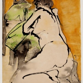 02 Hoo Mojong-Figure 90, 1968; Ink,Water color, 33x25cm
