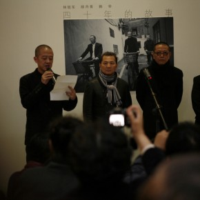04 Opening Ceremony of The Story of Four Decades(from the left, chaired by Shi Lei, vice-president of Chinese Academy of Oil Paintings, Han Xin, Chen Danqin and Lin Xudong