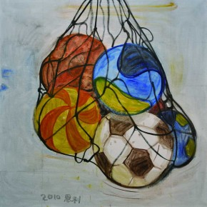 04 Zhang Enli-Stacked Balls, 2010; oil on canvas, 150×150cm