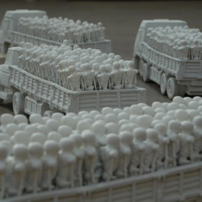 04 Zhang Xiaotao-Trucks, 2008; porcelain, 100x40x40cm