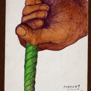 15 Hoo Mojong-Green String, 1978; Water color,Grayon,Pen, 16x22cm