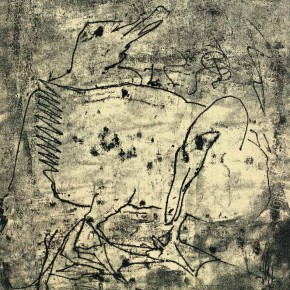 16 Hoo Mojong-Two Geese, 1964; ink and oil, 70x50cm