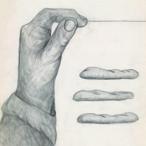18 Hoo Mojong-Three loaves of bread, 1970; pencil, 30x40cm