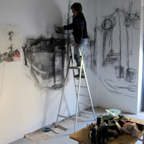 18 Kate Downie was working at the live drawing on the walls of Where Where Art Space.