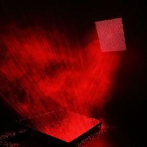Li Hui-V; laser light, smoke machine and mirror, its size based on the scene