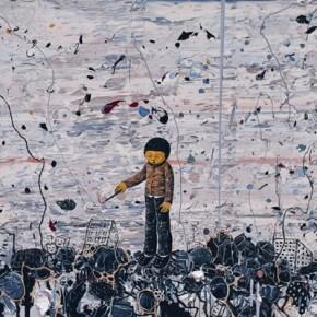 Li Jikai-The Boy ignites in the ruins, 2011; acrylic on canvas, 160×230cm