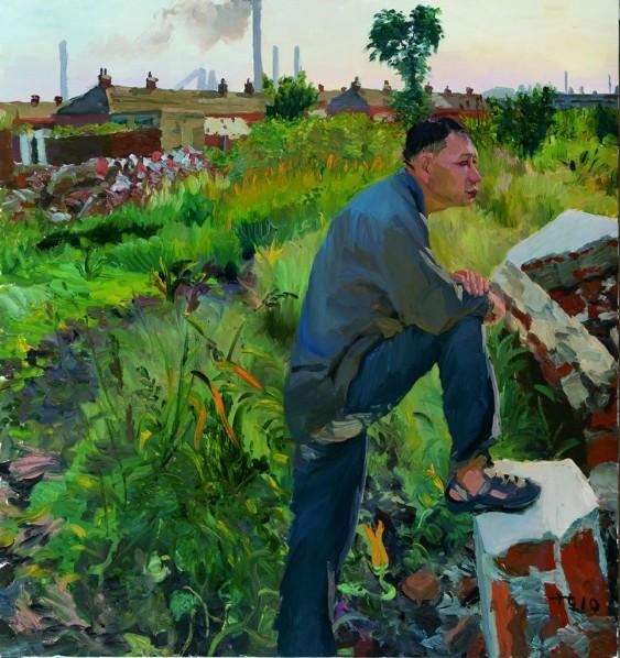 Liu Xiaodong-Han Shengzi Buys Land, 2010; oil on canvas, 150x140cm