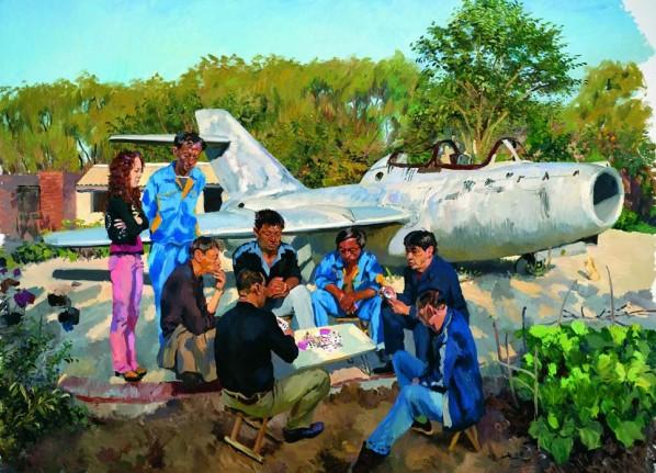 """Liu Xiaodong-""""Jincheng Airport"""", 2010; oil on canvas, 300x400cm"""