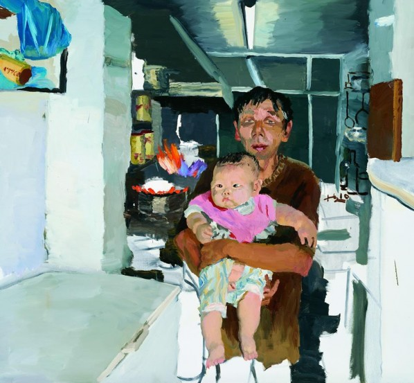 Liu Xiaodong-Shu Jun With His Chubby Son, 2010; oil on canvas, 140x150cm