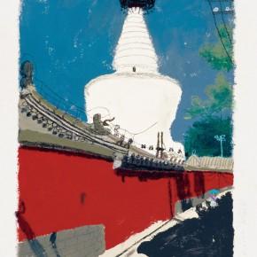 "Wang Yuping, ""Bai Ta Si No.3"", acrylic and oil pastel, 58 x 68 cm, 2010"