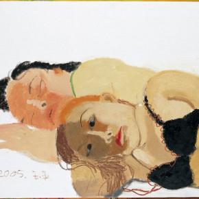 """Wang Yuping, """"Black Bra"""", oil painting, 76 x 92 cm, 2005"""