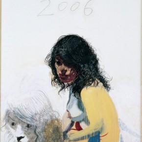 "Wang Yuping, ""Black Hair"", oil painting and acrylic, 150 x 120 cm, 2006"