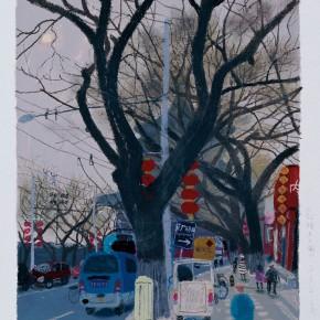 "Wang Yuping, ""Gu Lou East Street"", acrylic and oil pastel, 58 x 68 cm, 2011"