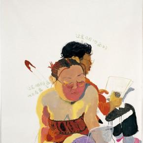 """Wang Yuping """"Looking at a CD"""" oil painting and acrylic 150 x 120 cm 2005 290x290 - Wang Yuping"""