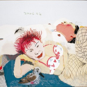"""Wang Yuping """"Red Hair and the White Fat"""" oil painting and acrylic 120 x 150 cm 2006 290x290 - Wang Yuping"""