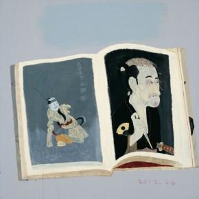 "Wang Yuping, ""Sharaku Painting No.1"", oil and acrylic on canvas, 100 x 100 cm, 2013"