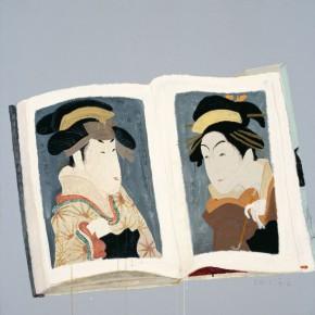 "Wang Yuping, ""Sharaku Painting No.3"", oil and acrylic on canvas, 100 x 100 cm, 2013"