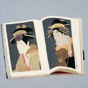 "Wang Yuping, ""Sharaku Painting No.4"", oil and acrylic on canvas, 100 x 100 cm, 2013"