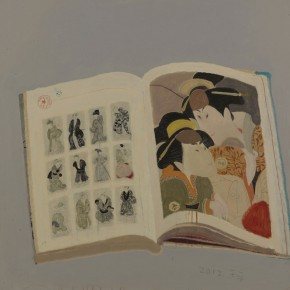 "Wang Yuping, ""Sharaku Painting No.5"", oil and acrylic on canvas, 100 x 100 cm, 2013"