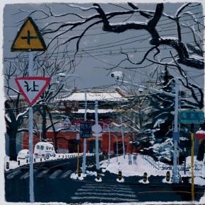 "Wang Yuping, ""Snow of Xi Hua Men"", acrylic, oil pastel, 58 x 68 cm, 2011"