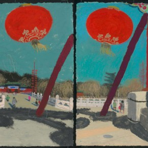 """Wang Yuping """"The 14th Day of Lunar January"""" acrylic and oil pastel on paper 57.5 x 145 cm 2013 290x290 - Wang Yuping"""