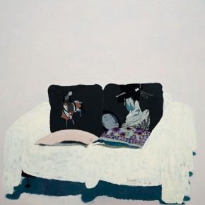 "Wang Yuping, ""Ukiyoe Cushion"", oil and acrylic on canvas, 200 x 220 cm, 2010"