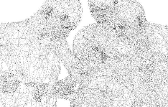 Absolute Drawing - Zero degree Doubt - Miao Xiaochun, 2011; Media: Permanent Lumocolor Pen on Canvas/ Size: 300x400cm