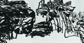 16 Pan Gongkai-Drawing of Cold Twilight, 2010; Ink on paper, 180×1300cm